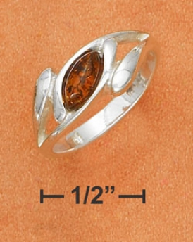 Sterling Silver Honey Amber High Polish Bypass Band Ring