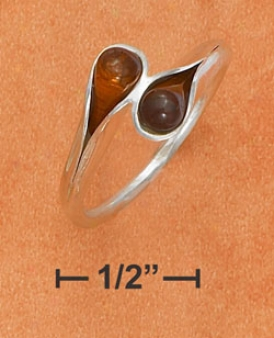 Sterling White Honey Amber Teardrop Bypass Ring