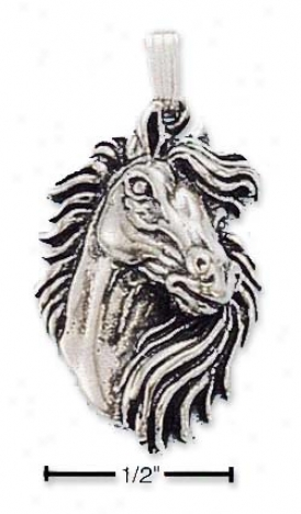 Sterling Silver Horse Head With Fluent Mane Charm