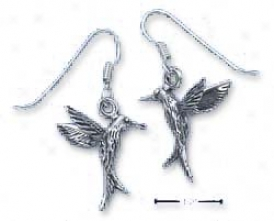 Sterling Silver Hummingbird In Flight Earrings French Wire