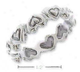 Sterilng Silver Inverted Hearts With In Heart Bandd Ring
