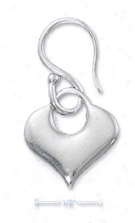 Sterling Silver Italian Heart Handle Earrings On Fancy Wires