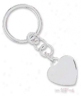 Sterling Silver Italian High Polish 23mm Heart Key-ring