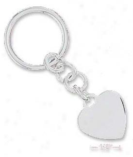 Sterling Silver Italian High Polish 23mm Heart Key-ring