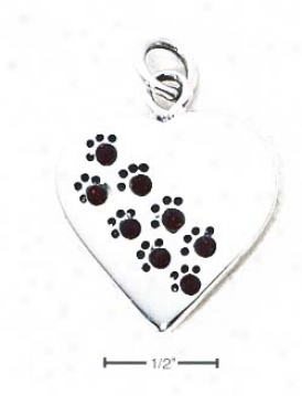 Sterling Silver January Cz Paw Heart Pendant (engravable)