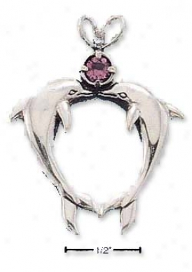 Genuine Silver Kissing Dolphins With Amethyst Charm