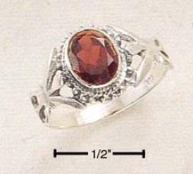 Sterling Silver Large Bezel Set Oval Garnet Ring