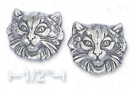 Sterling Silver Large Cat Fave Post Earrings