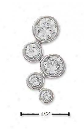 Sterling Silver Lafge Clear Cz Bubbles Pendant