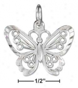 Sterling Silver Large Dc Filigre Butterfly Charm