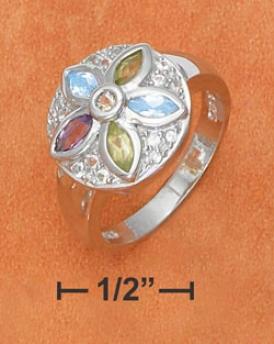 Genuine Silver Large Flower Amethyst Peridot Citrine Ring