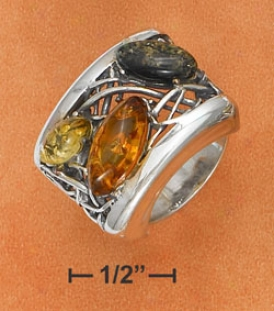 Sterling Silver Large uMlti Colo rAmber With Weave Band Ring