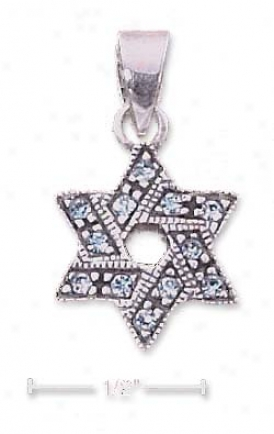 Sterling Silver Light Blue Crystal Star Of David Pendant