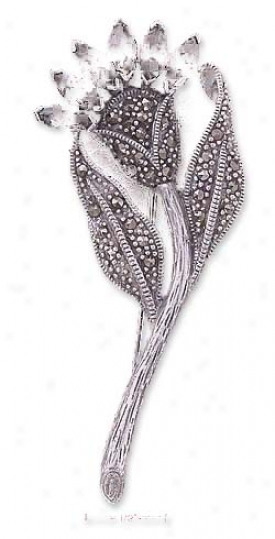 Sterling Silver Marcasite Flower Pin Red Czs - 2 1/2 Inch