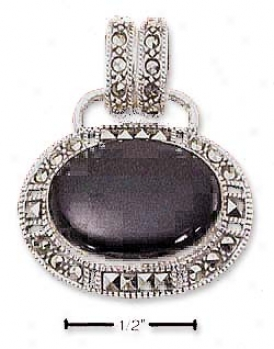Sterling Silver Marcasite Large Oval Onyx Pendant