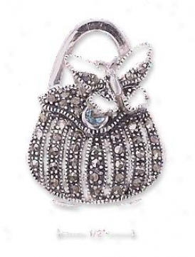 Sterling Silver Marcasite Purse Locket Pendant