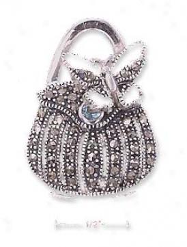 Sterling Silver Marcasite Purse Locket Pendant