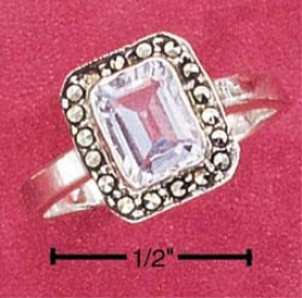 Sterling Silver Marcasute Rectangular Blue Topaz Stone Ring