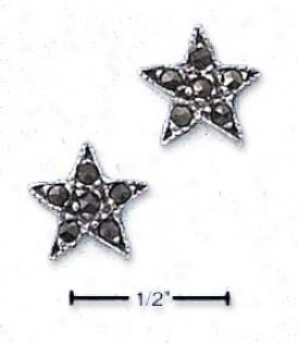 Sterling Silver Marcasite Star Post Earrings