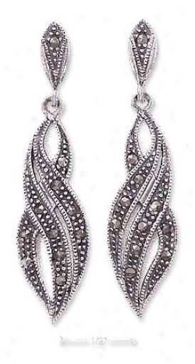 Sterling Silver Marcasite Trilpe Swoosh Post Dangle Earrings