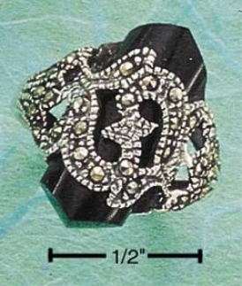 Sterling Silver Marcasite With Faceted Onyx Point Clique