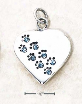 Sterling Silver March Cz Paw Heart Pendant (engravable)