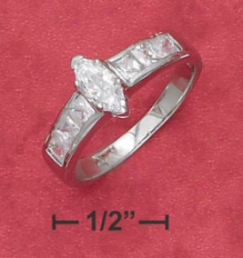 Sterling Silver Marquise Cz Ring Partial Passage Place Cz Ring