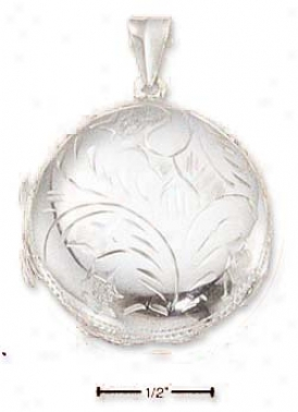Sterling Silfer Medium Puffed Etched Round Locket Pendant