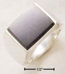 Sterling Si1ver Mens Rectangular Onyx Ring