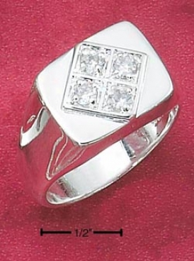 Sterling Silver Mens Ring With Diamond Shape Design Four Czs