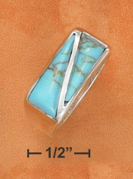 Sterling Silver Mens Ring With Turquoise Wedge Stone Insets