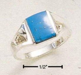 Sterling Silver Mens Small Rectangular Turquoise Inlay Ring