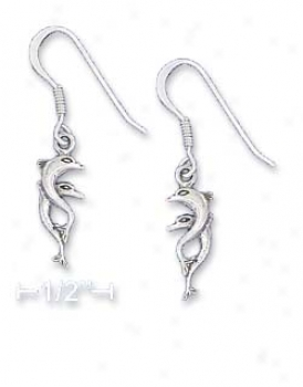 Sterling Silvery Mini 7x15mm Double Dolphin Earrings