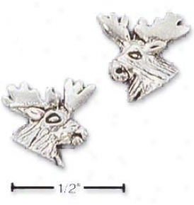 Sterling Silve rMini Moose Head Post Earrings