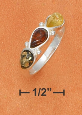 Sterling Silver Multicolor Amber Teardrops Ring
