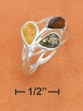 Sterling Silver Multicolor Amber Teardrops Weave Band Ring