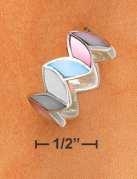 Sterling Silver Multicolor Shell Inlay Zigzag Band Ring