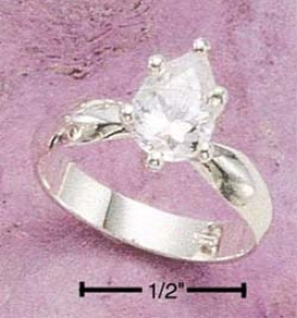 Sterling Silvery Narrow Band Ring 8x6 Pear Clear Cz Ring