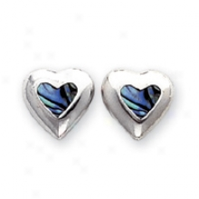 Sterling Silver Natural Shell Heart Earrings