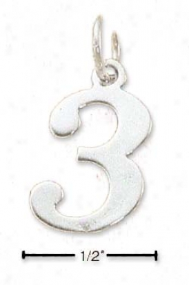 Sterling Silver Number Number 3 Charm