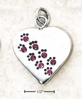 Sterling Silver October Cz Paw Heart Chandelier (engravable)