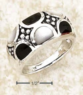 Sterling Silver Onyx And White Mop Semi-circle Inlays Ring