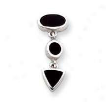 Sterling Silver Onyx Inlay Drop Earrigns