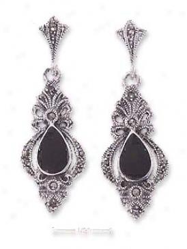Sterling Silver Onyx Tear Marcasite Post Danle Earrings