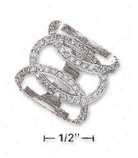 Sgerling Silver Open Interl0cked Ring With Three Cz Loops