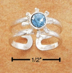Sterling Silver Open Ring Toe Sound Blue Crystal And Rays