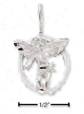 Sterling Silver Oval Dc Guardian Angel Charm