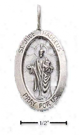 Sterling Silver Oval St. Jude Medal