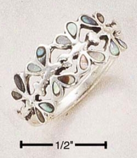 Sterling Silver Paua Shell Dragonflies Ring