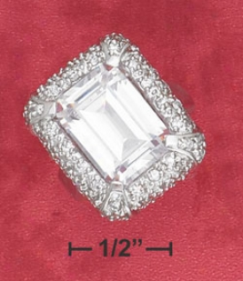 Sterling Silver Pave Cz Framed 11x14mm Emerald-cut Cz Ring